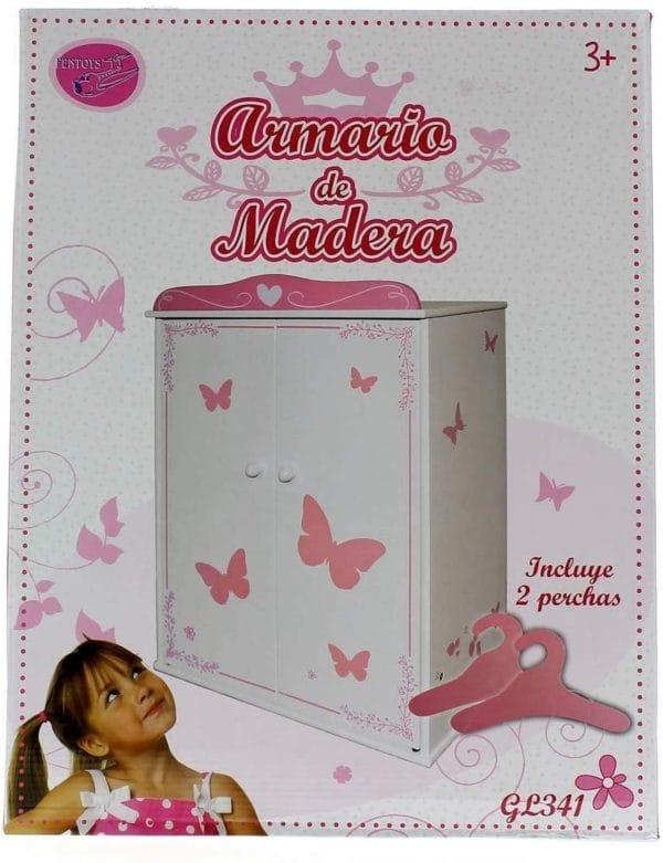 ARMARIO MADERA CON MARIPOSAS 39X21X54CM
